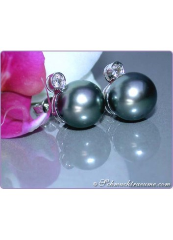 Precious Tahitian Pearl Studs with Diamonds