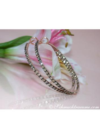 Pretty Hoop Earrings with Natural Brown Diamonds