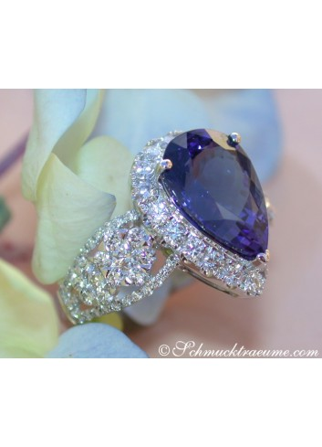 Picture Perfect AAA Tanzanite Ring with Diamonds