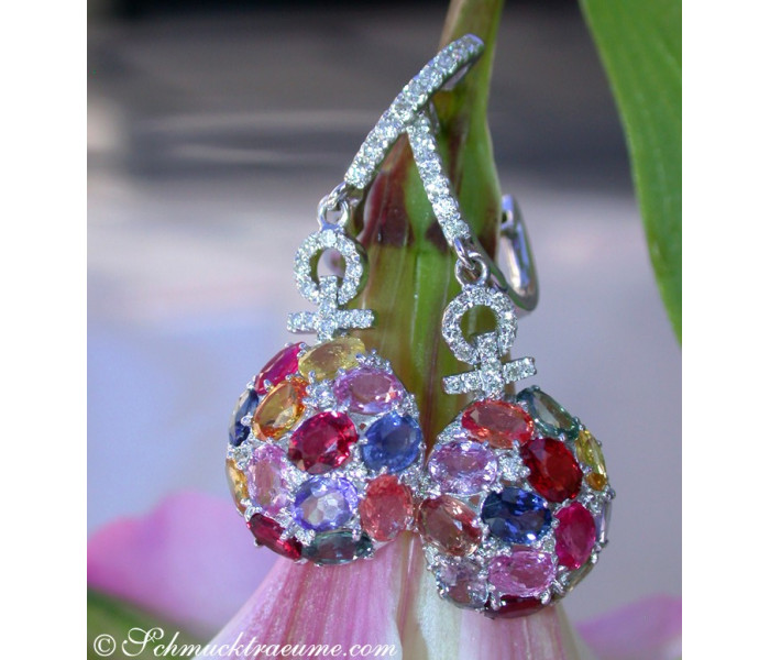 Elegant Diamond Earrings with Multicolor Sapphires