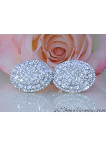 Prestigeous Diamond Earrings with Baguette & Princess Diamonds