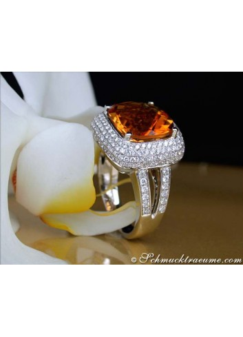 Madeira Citrin Ring mit Brillanten