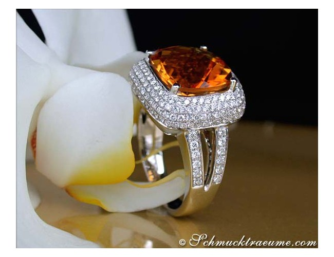 Amazing Madeira Citrine Ring with Diamonds