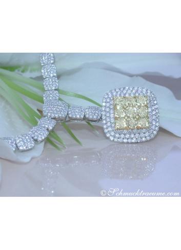 Luxus: Brillanten Collier mit gelben Diamanten