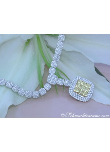 Dreamlike Yellow & White Diamond Necklace
