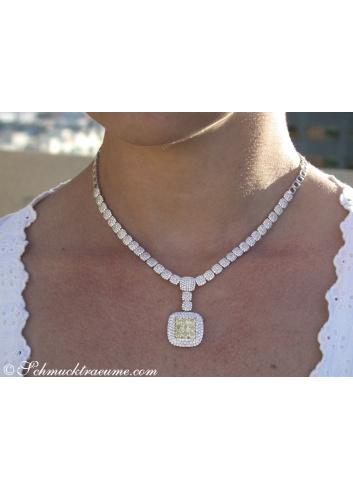 Dreamlike Yellow & White Diamond Necklace