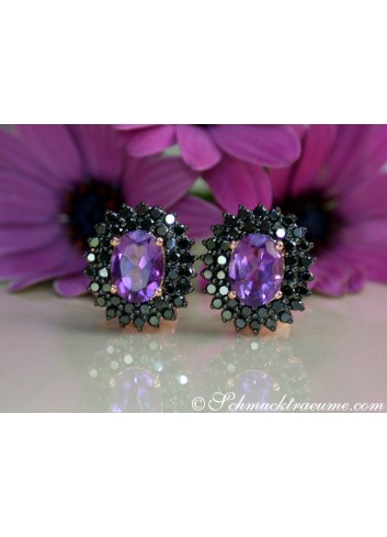 Enchanting Amethyst Studs with Black Diamonds