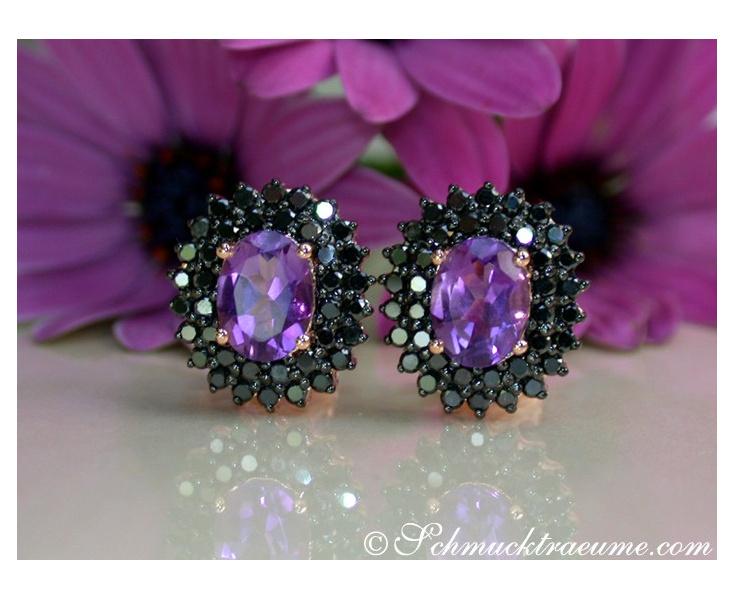 Enchanting Amethyst Studs with Black Diamonds