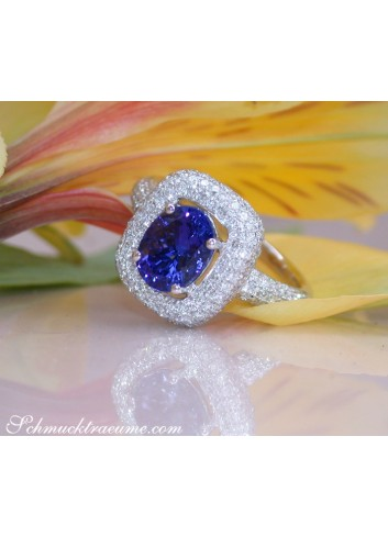 Precious AAA Tanzanite Ring with Diamonds