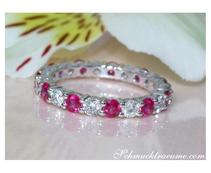 Precious Diamond Eternity Ring with Rubies