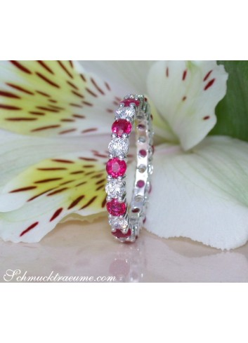 Precious Diamond Eternity Ring with Rubies