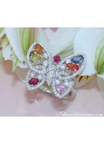 Brillanten Schmetterling Ring mit Regenbogen Saphiren