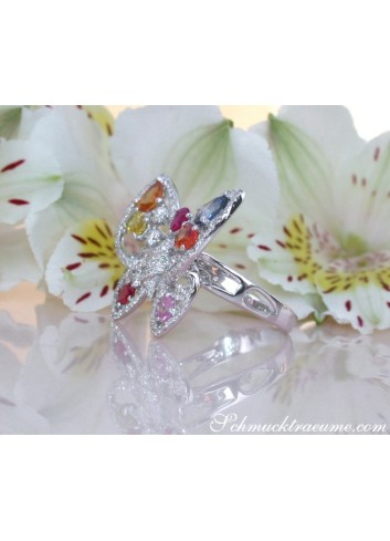 Beautiful Butterfly Ring with Multicolor Sapphires & Diamonds