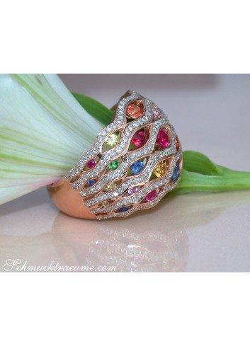 Stately Rainbow Sapphire Ring with Diamonds
