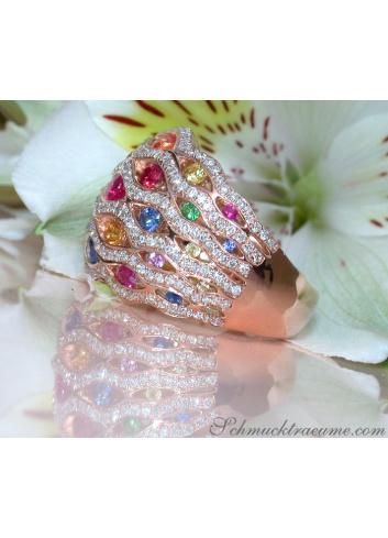 Regenbogen Saphir Ring mit Brillanten