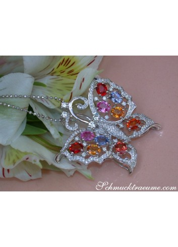 Stunning Diamond Butterfly Pendant with Multicolor Sapphires