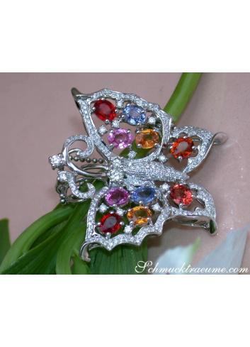 Brillanten Schmetterling Anhänger mit Regenbogen Saphiren