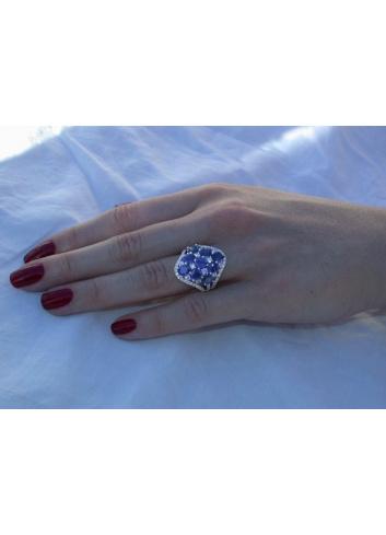 Ceylon Saphir Ring mit Brillanten
