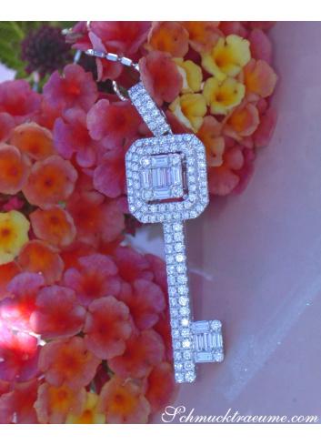 Brillanten Schlüssel Anhänger mit Baguette Diamanten
