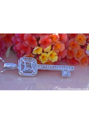 Magnificent Diamond Key Pendant