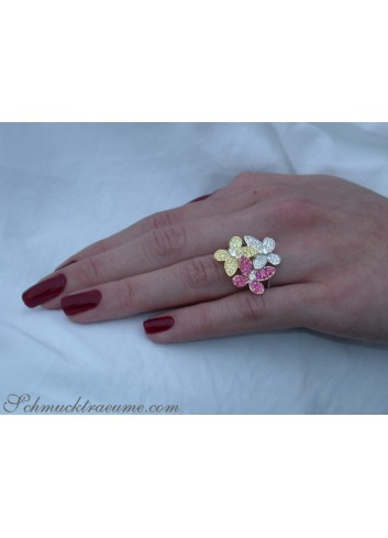 Diamanten Schmetterling Ring mit Rubinen & Saphire
