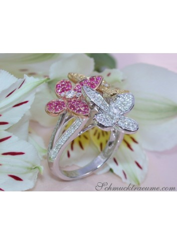Pretty Diamond Butterfly Ring with Rubies & Sapphires