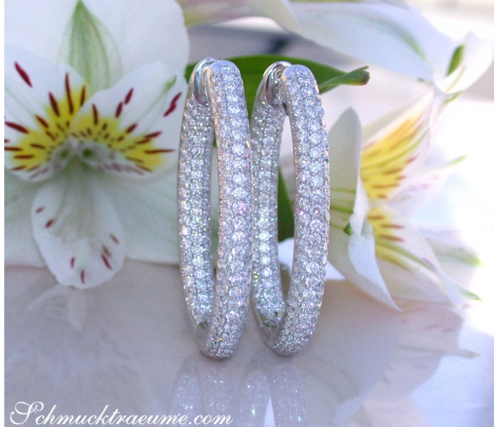 Oval Diamond Pavé Hoops