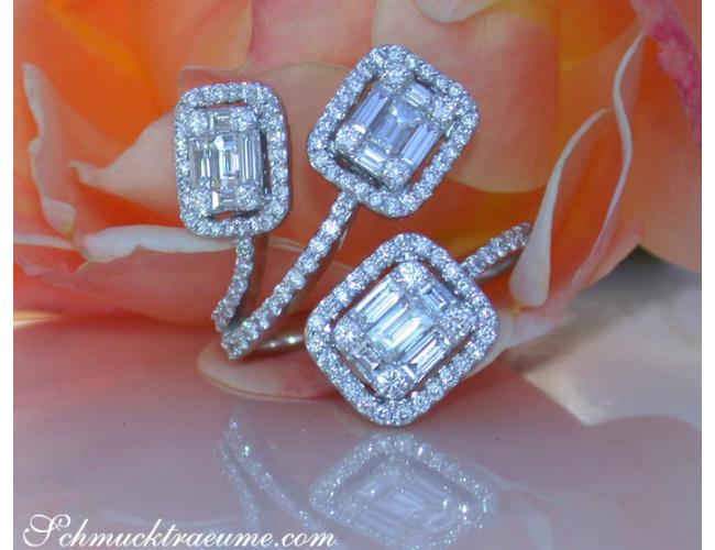 Unusual Diamond Ring with Baguette Diamonds