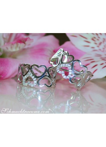 Feminine Diamond Heart Huggie Earrings