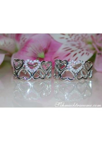 Feminine Diamond Heart Earrings
