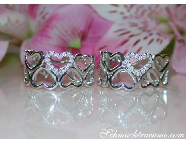 Diamanten Ohrstecker im Herz Design