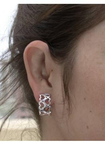 Feminine Diamond Heart Huggie Earrings