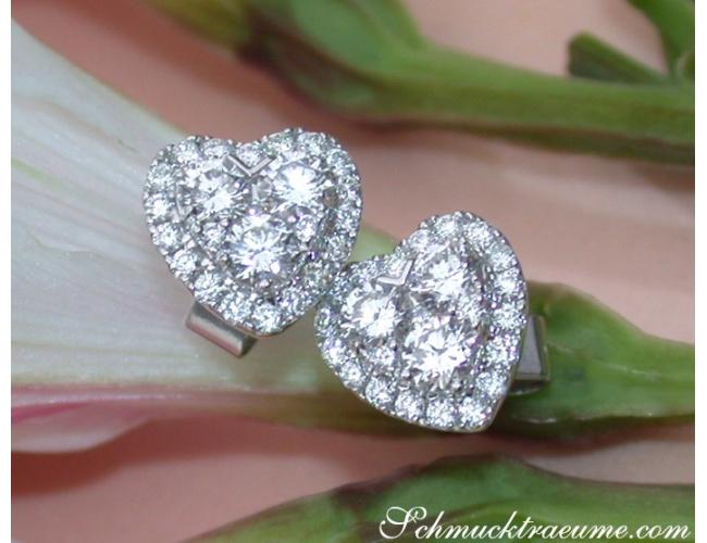 Feminine Diamond Hert Stud Earrings
