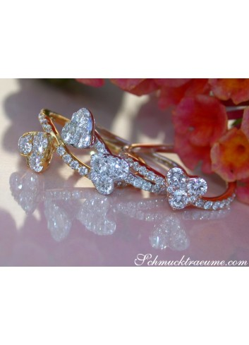Three Enchanting Diamond Heart Rings (Stackable Rings)