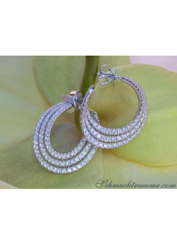 Interesting three row diamond hoop earrings