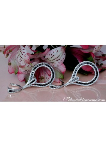 Brillanten Ohrgehänge mit schwarzen Diamanten