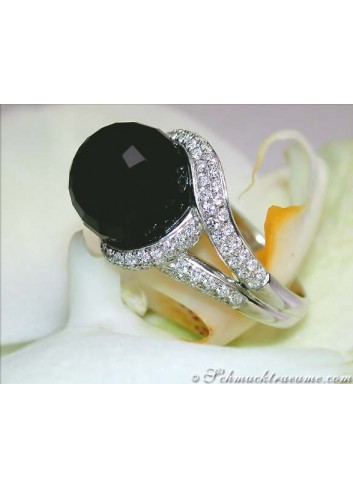 Attraktiver Onyx Brillanten Ring in Weißgold 750