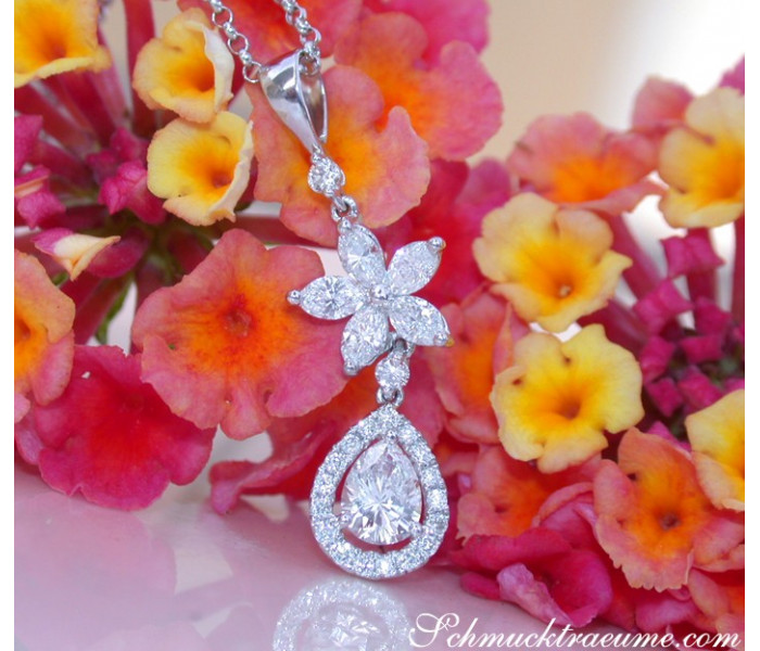 Exquisite Diamond Pear Pendant with Marquise Diamonds