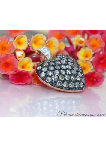 Beautiful Brown Diamond Heart Pendant incl. Chain