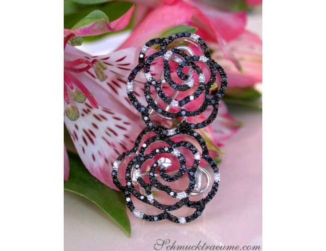 Picture Perfect Rose Earrings with Black Diamonds