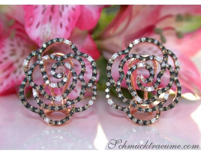 Picture Perfect Rose Earrings with Natural Brown Diamonds