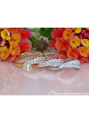 Drei geschwungene Brillanten Ringe (stacking rings)