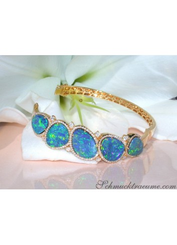Stately Boulder Opal Bangle with Diamonds