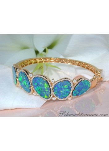 Stately Boulder Opal Bangle with Diamonds