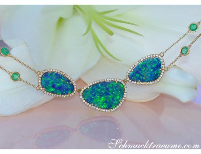Precious Boulder Opal Necklace with Emeralds and Diamonds