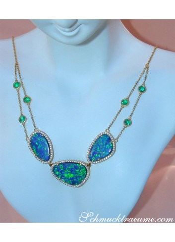 Precious Boulder Opal Necklace with Emeralds and Diamonds