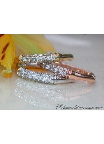 Three Bamboo Style Stackable Rings with Diamonds