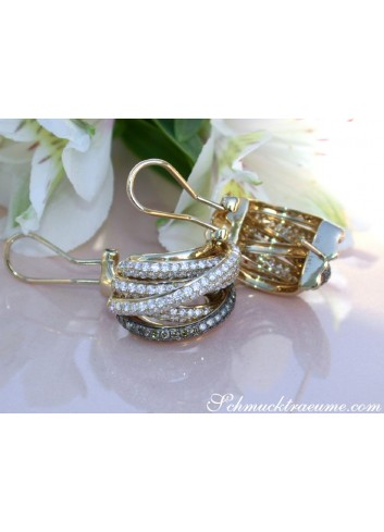 Multi Row Earrings with White & Brown Diamonds