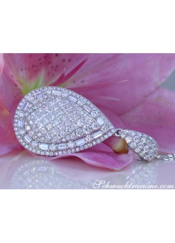 Brillanten Tropfen Anhänger mit Princess und Baguette Diamanten