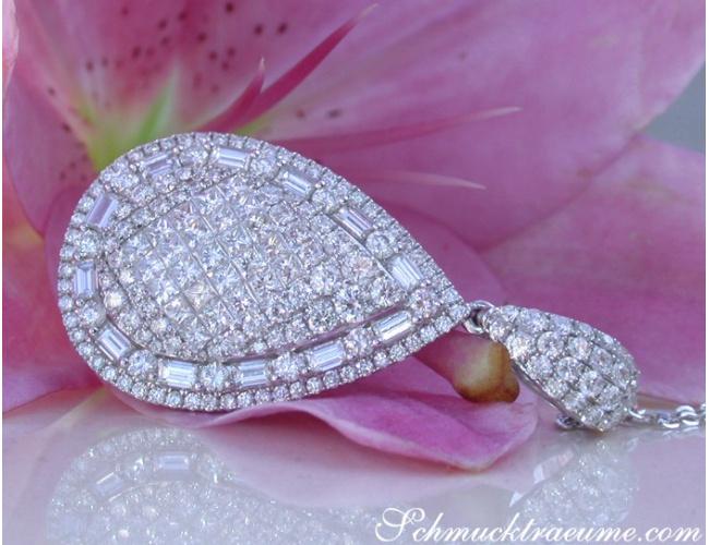 Superb Pear Pendant with Brilliant, Princess and Baguette Diamonds
